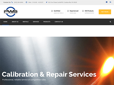 Image of the Precision Welding Supply (PWS) website.